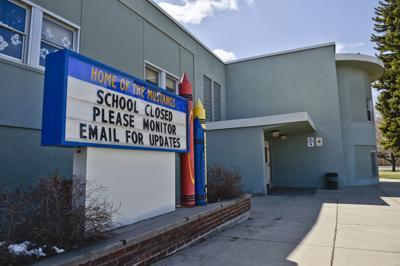 A sign outside Jefferson Elementary School in Helena, Mont.