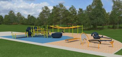 An architectural rendering of a new $230,000 accessible playground project moving forward at Helena's Cherry Park.