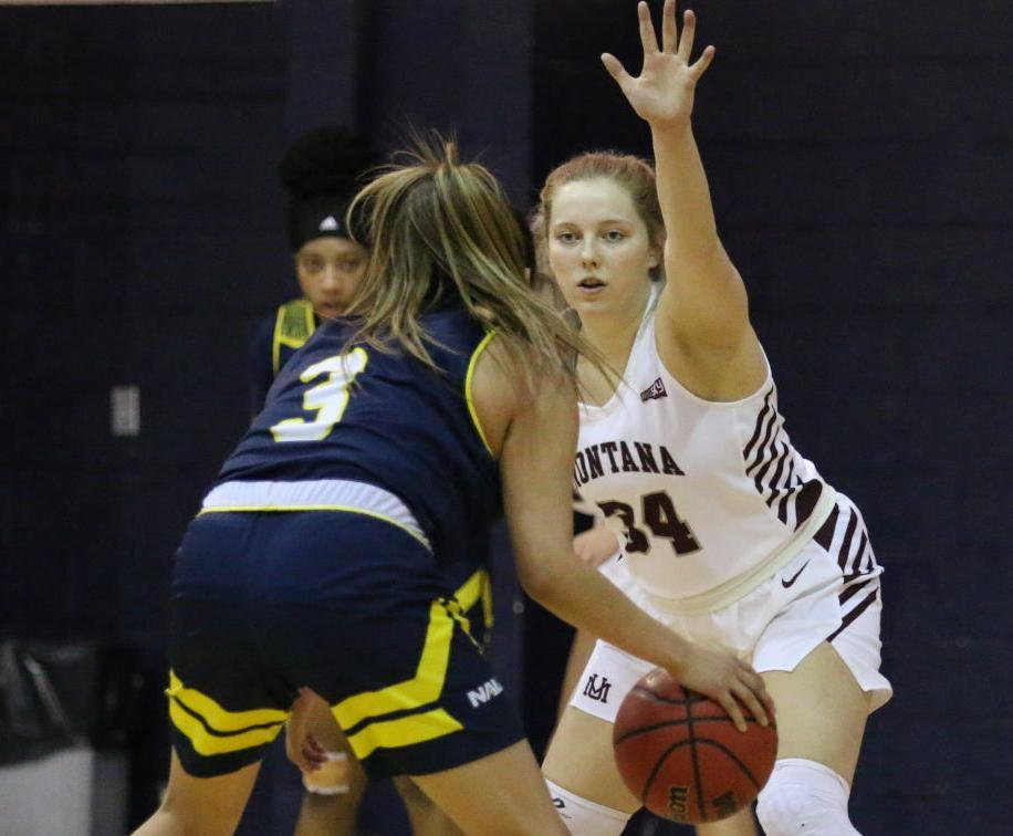 Madi Schoening playing defense in Flagstaff