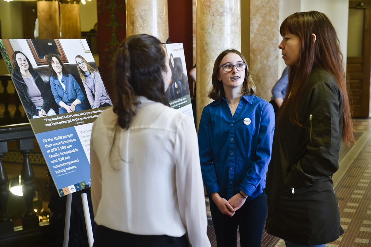 PEAK GT students, Ella Rowland, in blue, and Emilee Mollett,