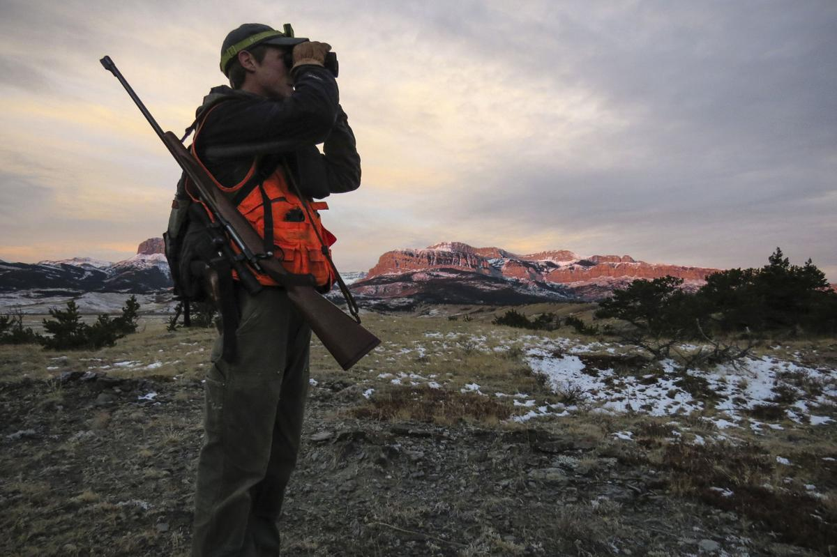 A hunter scours the foothills of the Rocky Mountain Front in search of game on Oct. 27.