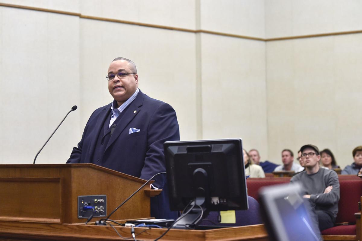 Gregory Thomas gives public comment