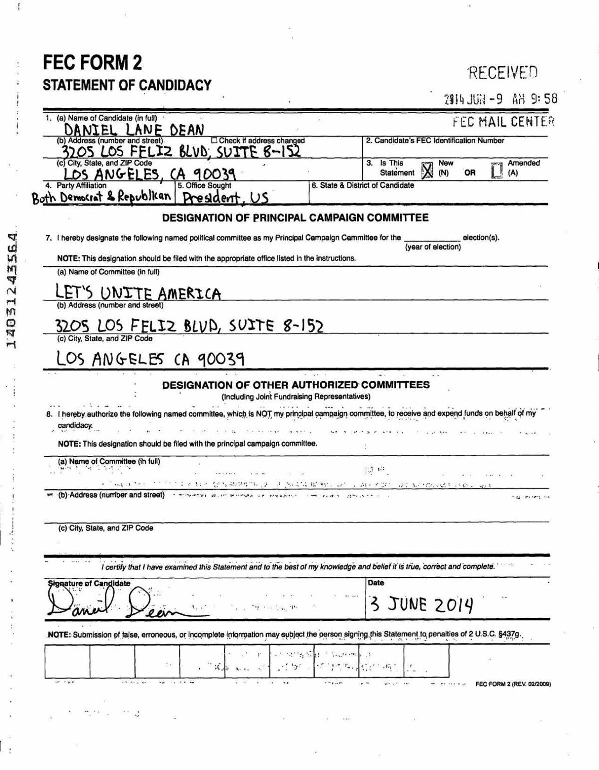 Dean presidential campaign filing