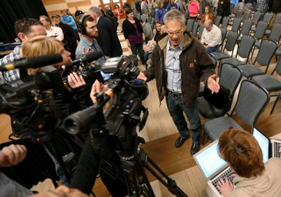 Krakauer with media