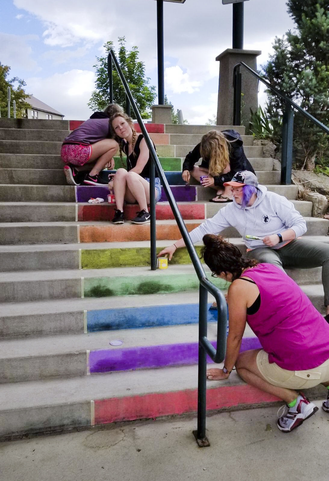 The steps of St. Paul's United Methodist Church are painted rainbow colors