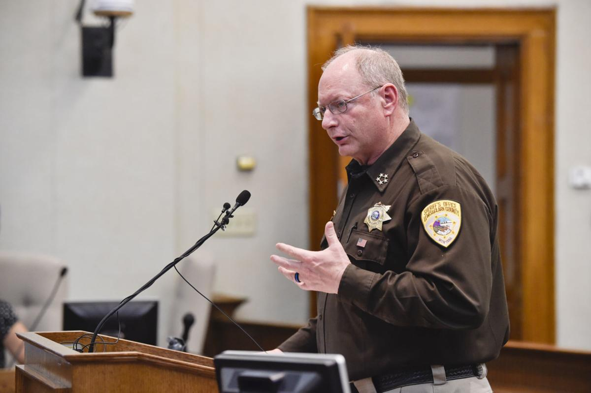 Lewis and Clark County Sheriff Leo Dutton speaks to the County Commission on Wednesday during a special meeting on policing protocols.