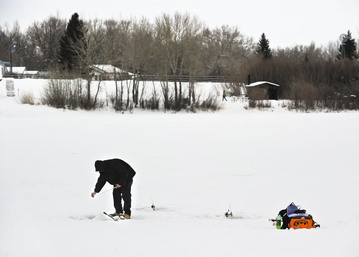 Ice-fisherman on Spring Meadow LAke