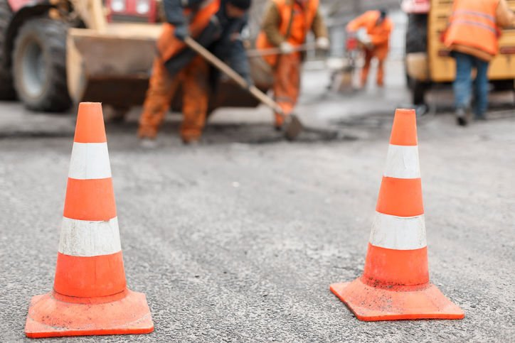 road construction road work stockimage