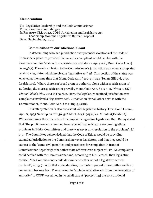 COPP jurisdiction