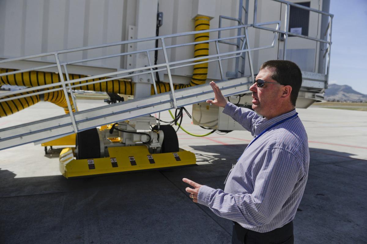 Airport director Jeff Wadekamper talks about the airport's new jet bridge