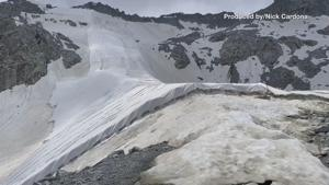 Massive Italian glacier is covered in sheets to prevent ice from melting