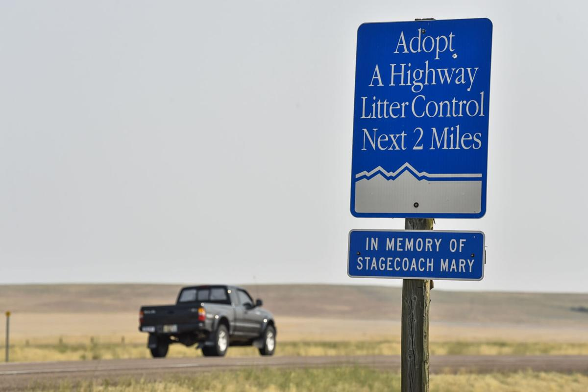 An Adopt-A-Highway sign outside Cascade honors Mary Fields