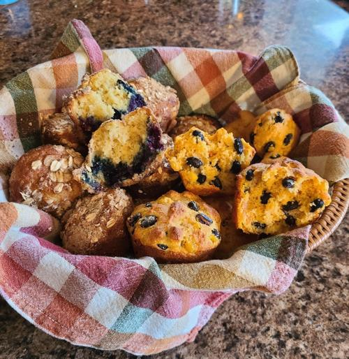 Blueberry Muffins and Black Bean and Salsa Corn Muffins