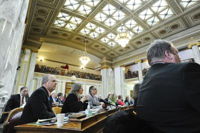 Representatives listen to floor speeches during the 2019 Montana Legislature.