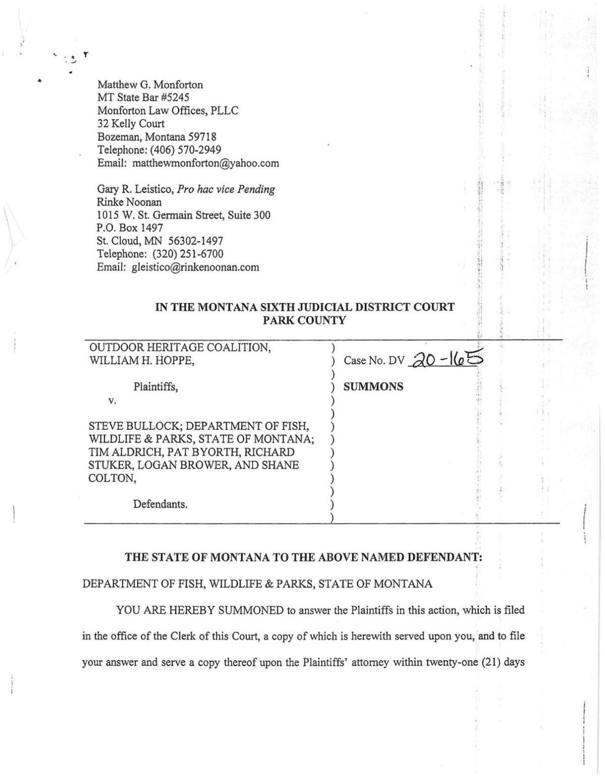 MT Wolf Quota Lawsuit