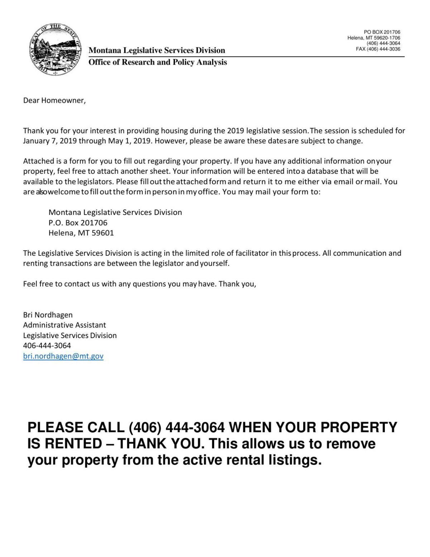 2019 Legislative Housing form