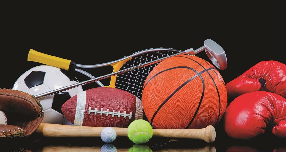 Sports baseball basketball football soccer stock image