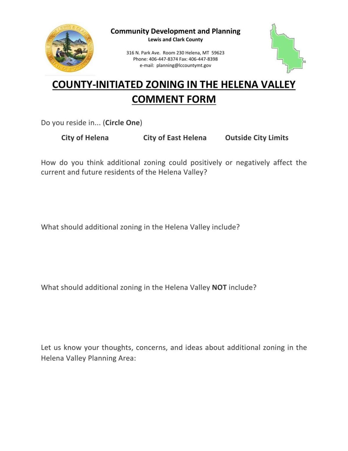 Zoning comment form