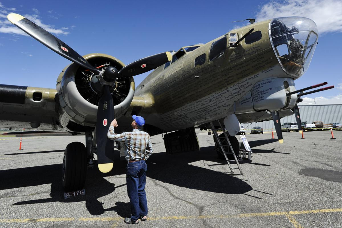 A Boeing B-17G Flying Fortress sits on display Monday