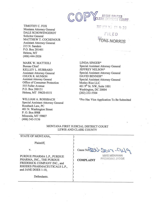 Complaint against Purdue