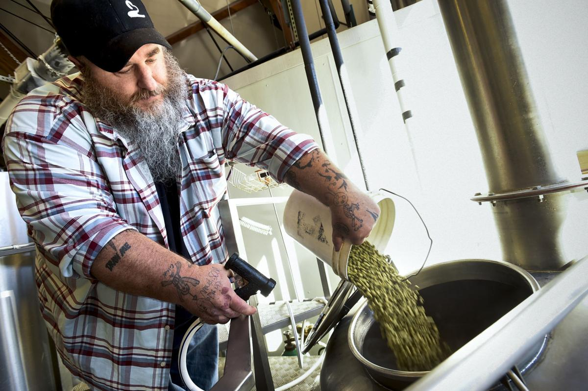 Chris Riccardo, executive director for the Holter Museum of Art, dumps a bucket of pelletized hops into the Hop Harvest IPA brew Thursday morning at Blackfoot River Brewing Co.