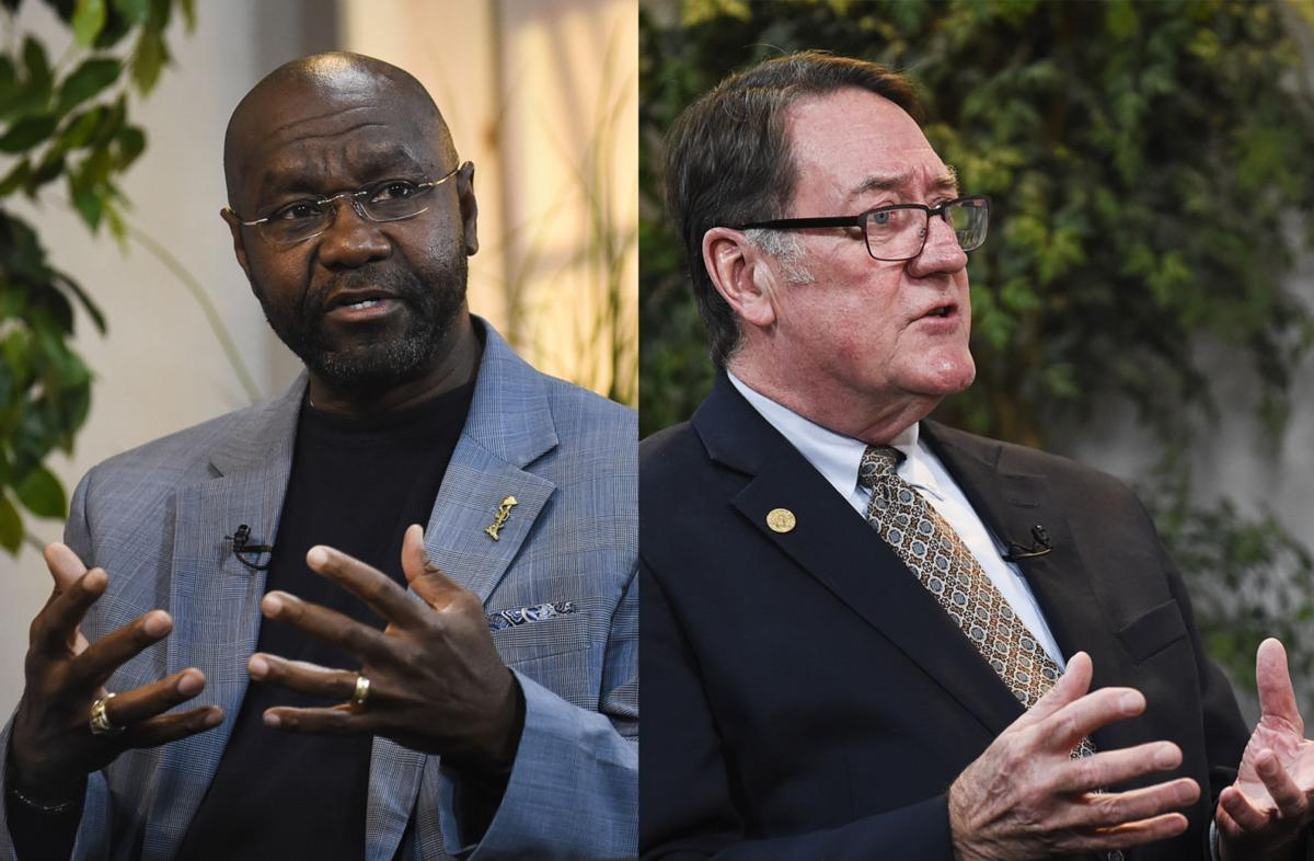 Mayoral candidates Wilmot Collins, left, and Jim Smith