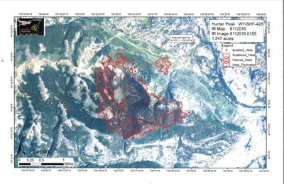 Hunter Peak Fire map