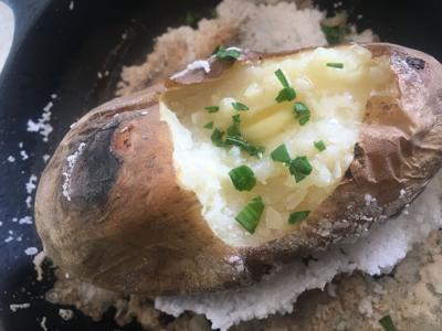 Salt-baked potato