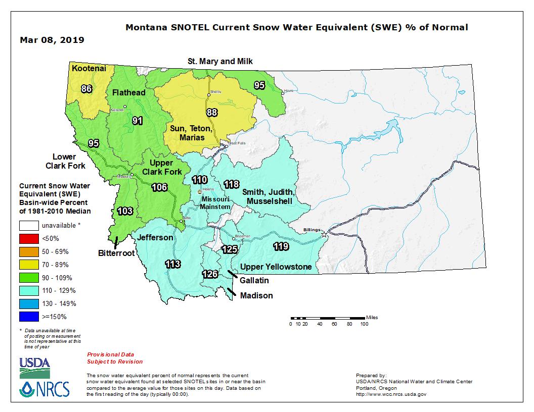 NRCS Montana Snowpack Map Feb. 2019