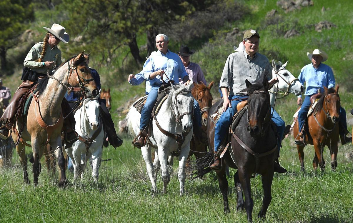 Pence and Daines on horseback