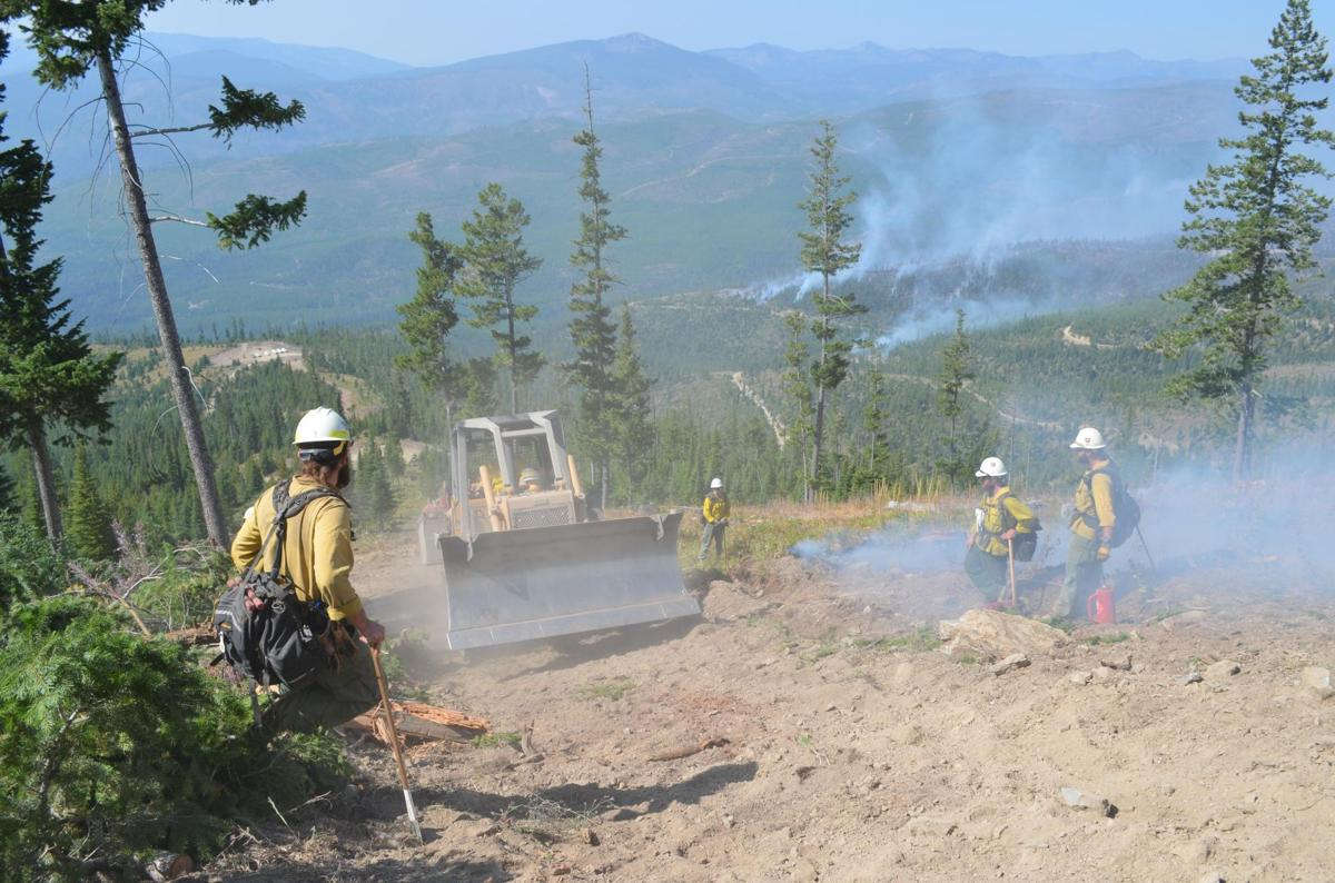 A bulldozer is used on the fire line of the Liberty Fire.