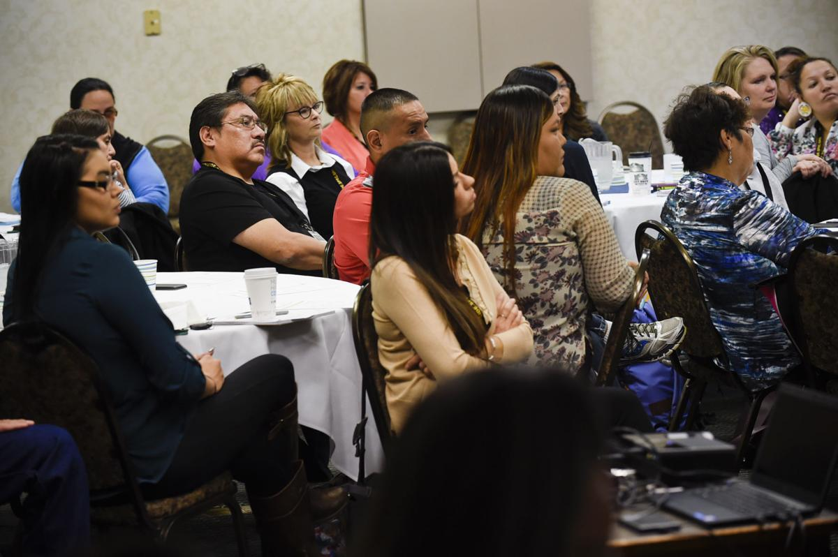 Representatives from Montana's Native American communities listen to a presentation Wednesday morning during the first day of the two-day Zero Suicide Academy in Helena.