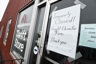 Sign On The Door Of Helena Industries Thrift Store Fire