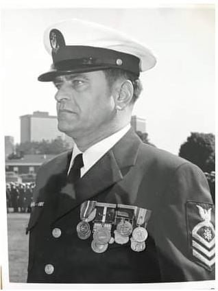 U.S. Coast Guard Chief Petty Officer Jim Heffernan, retirement day, 1978.