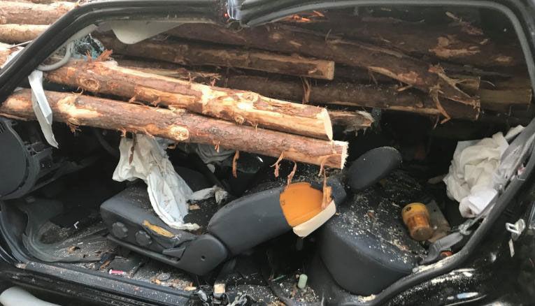 Car impaled