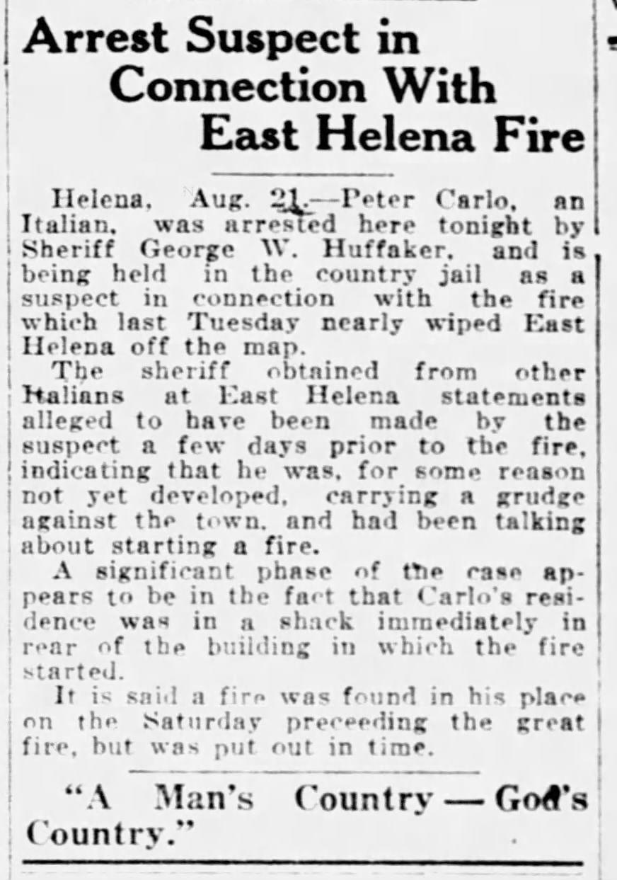 East Helena Fire of 1919