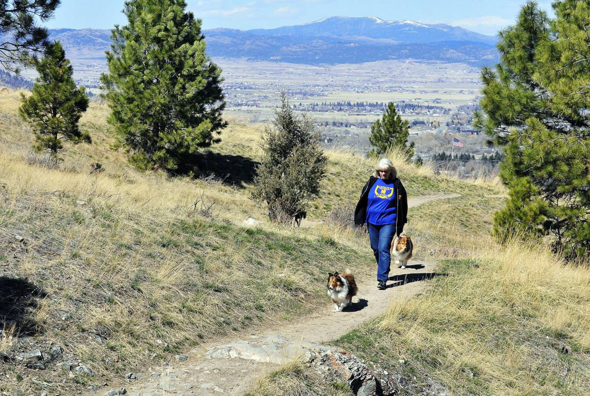 Lesley Dunkle walks her miniature Collie's Lindy and Kenji near the Beattie Street trailhead