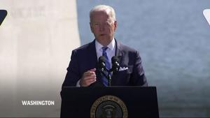 Biden pushes for racial justice at MLK Memorial