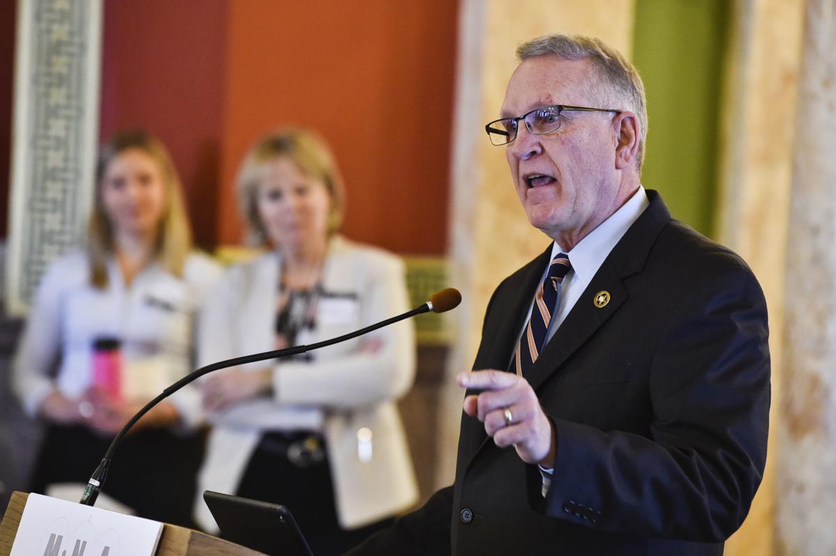 Attorney General Tim Fox speaks