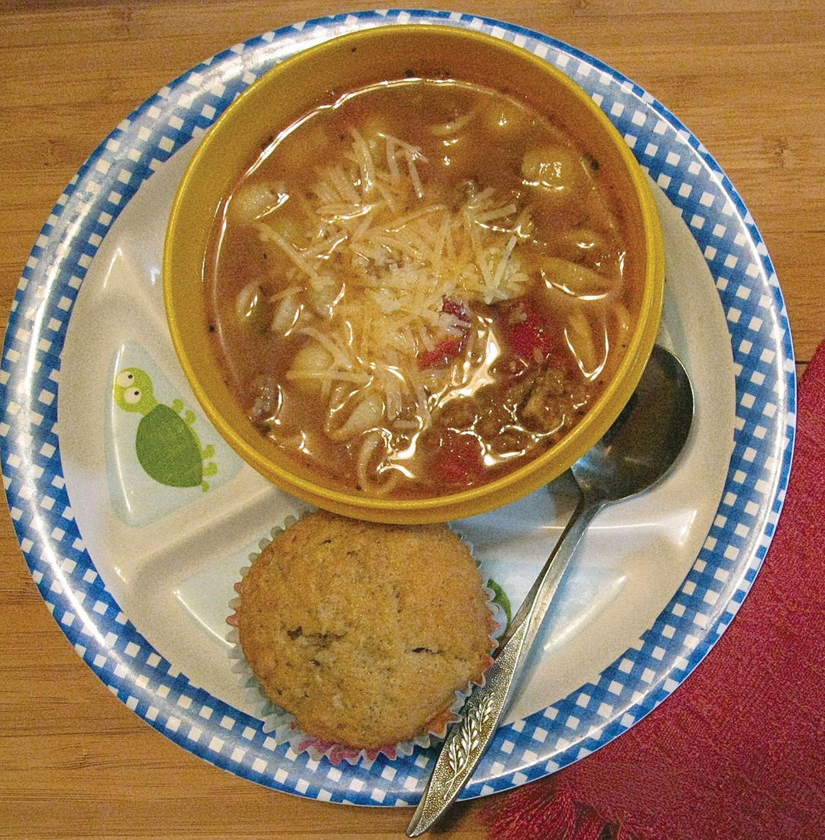 Lasagna soup and banana muffin