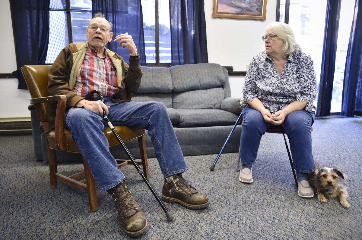 Firetower Apartments residents, Fred Burns, left, and Lori Michel