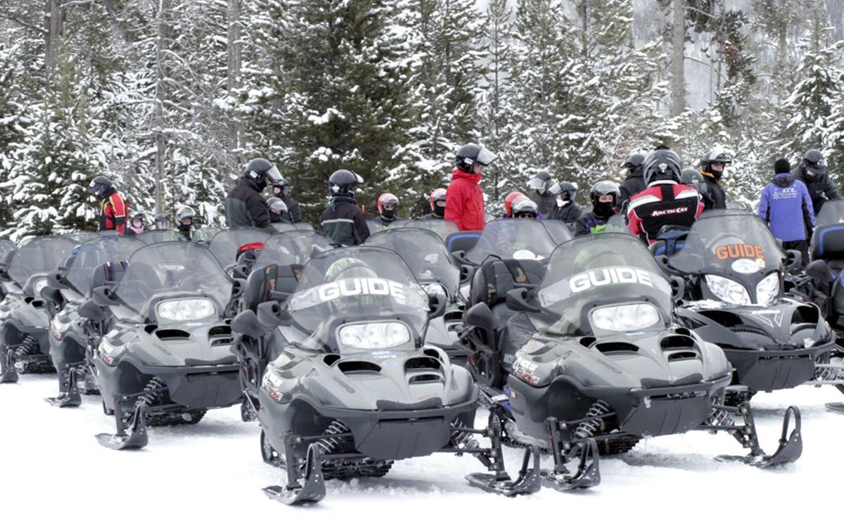 Snowmobile traffic jam