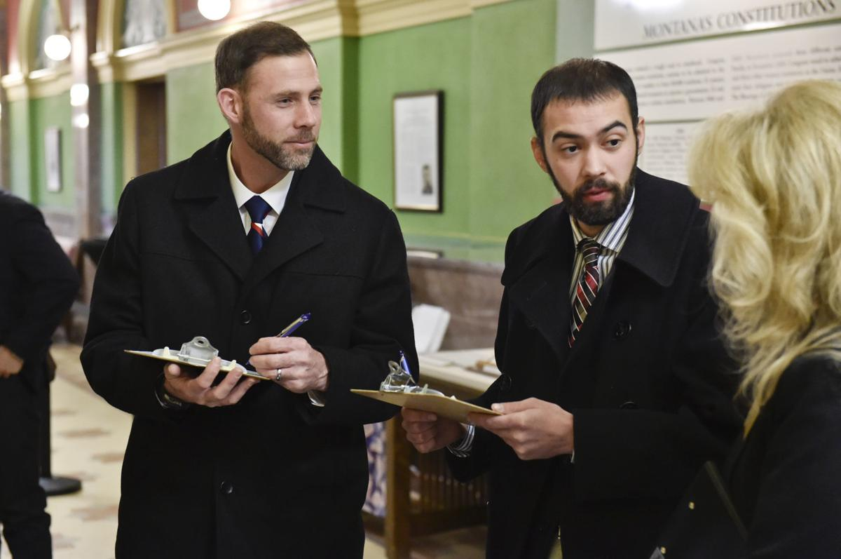 Brothers Jedediah Hinkle, left, and Caleb Hinkle right, file as Republicans