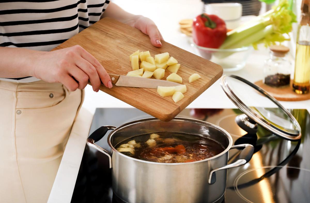 Potatoes going into pot