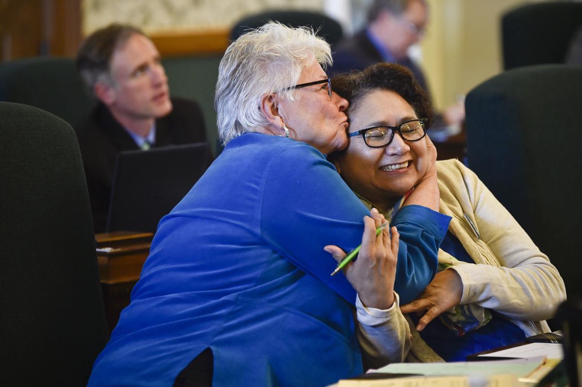 Sen. Diane Sands, D-Missoula, and Sen. Susan Webber, D-Browning, rejoice