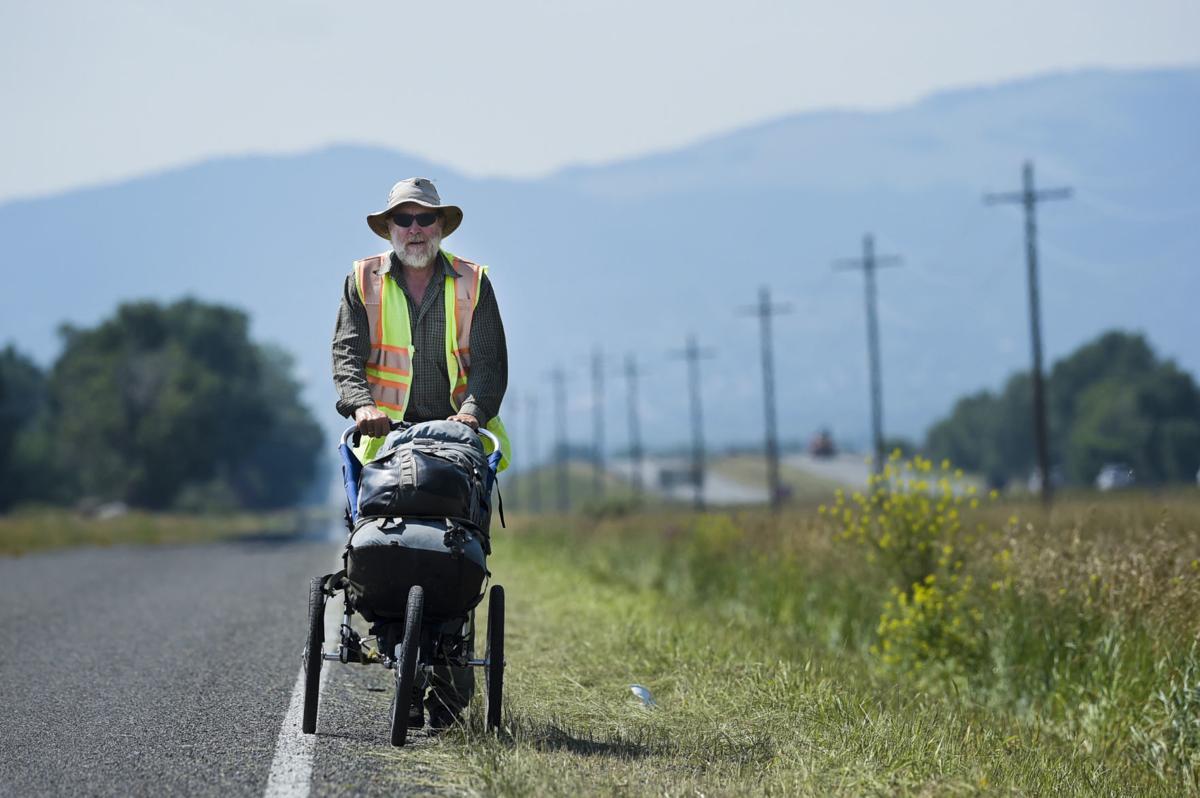 Bart Smith treks across the Helena Valley Tuesday