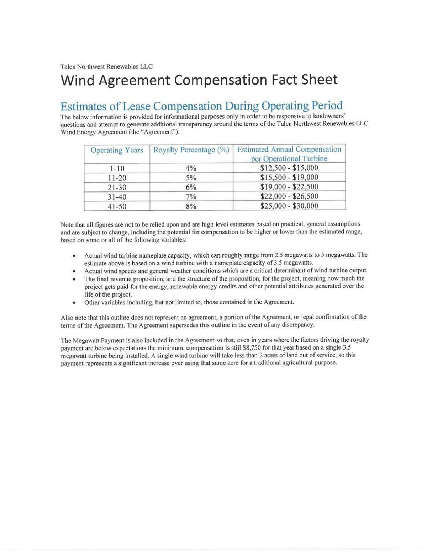 Wind Agreement Compensation Fact Sheet
