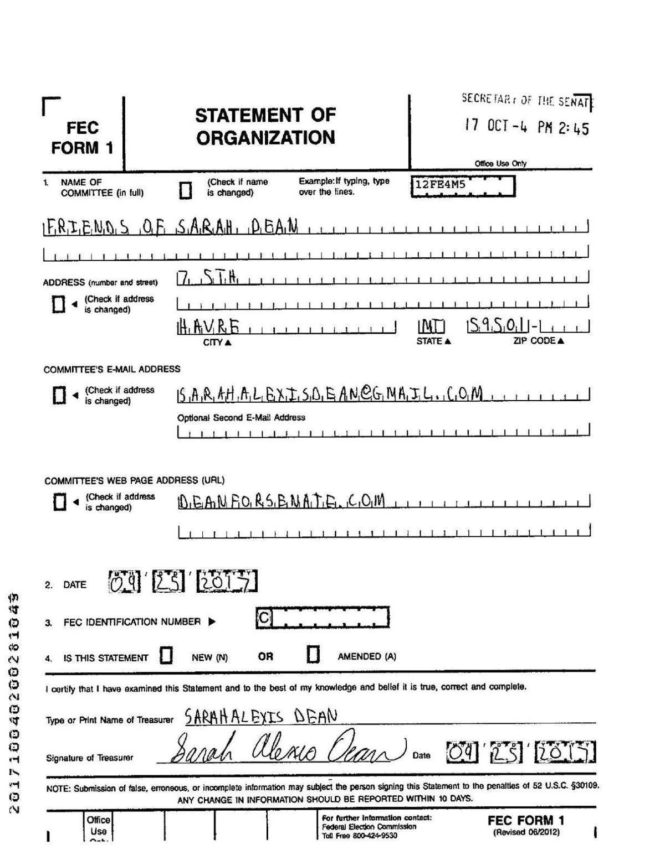 Sarah Dean FEC filing