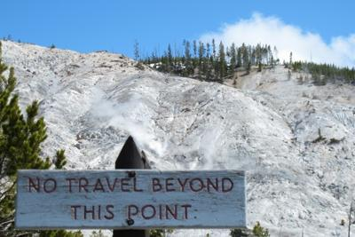 Signs warn visitors to be careful around thermal areas