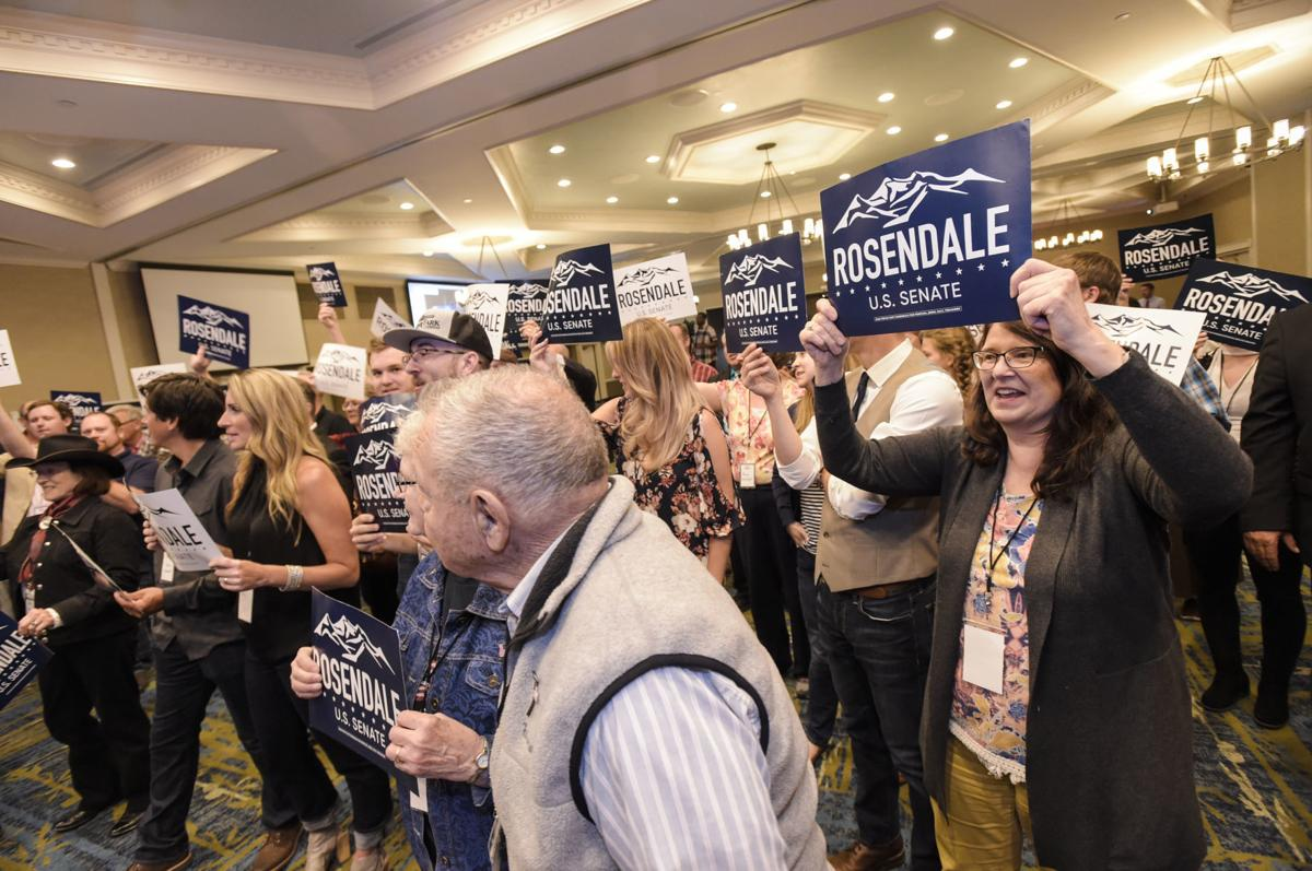 Supporters cheer for Matt Rosendale Tuesday night after election results are announced.